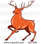 Vector Clip Art of Retro Cartoon Styled of a Marching Deer by Patrimonio