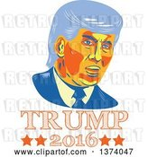 Vector Clip Art of Retro Cartoon Styled Portrait of Republican Presidential Nominee Donald Trump over Text by Patrimonio