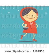 Vector Clip Art of Retro Cartoon Styled Red Riding Hood Roller Skating Oer Blue by Qiun