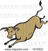 Vector Clip Art of Retro Cartoon Styled Running Brown Texas Longhorn Bull by Patrimonio