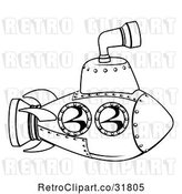 Vector Clip Art of Retro Cartoon Submarine Outline by AtStockIllustration
