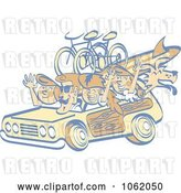 Vector Clip Art of Retro Cartoon Summer Family in a Woody Car by Andy Nortnik