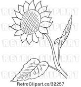 Vector Clip Art of Retro Cartoon Sunflower and Leaves Line Drawing by Picsburg