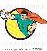 Vector Clip Art of Retro Cartoon Super Hero Flying with a Rugby Ball and Emerging from a Black White and Yellow Sun Rays Circle by Patrimonio