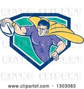 Vector Clip Art of Retro Cartoon Super Hero Flying with a Rugby Ball and Emerging from a Blue White and Turquoise Ray Shield by Patrimonio