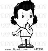 Vector Clip Art of Retro Cartoon Surprised Gasping Black Girl in Shorts by Cory Thoman