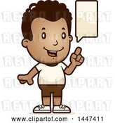 Vector Clip Art of Retro Cartoon Talking Black Boy in Shorts by Cory Thoman