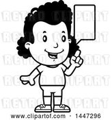 Vector Clip Art of Retro Cartoon Talking Black Girl in Shorts by Cory Thoman