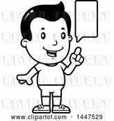 Vector Clip Art of Retro Cartoon Talking Boy in Shorts by Cory Thoman