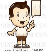 Vector Clip Art of Retro Cartoon Talking White Boy in Shorts by Cory Thoman
