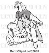 Vector Clip Art of Retro Cartoon Taxi Driver Female Worker by Picsburg