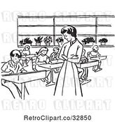 Vector Clip Art of Retro Cartoon Teacher Watching Children Write in Class by Picsburg