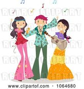 Vector Clip Art of Retro Cartoon Teens at a Hippie Party by BNP Design Studio