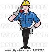 Vector Clip Art of Retro Cartoon Telephone Service Repair Guy Holding a Receiver by Patrimonio