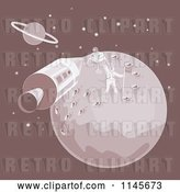 Vector Clip Art of Retro Cartoon the Moon Landing with an Astronaut and Module by Patrimonio