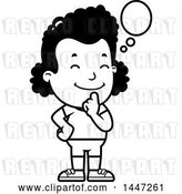 Vector Clip Art of Retro Cartoon Thinking Black Girl in Shorts by Cory Thoman