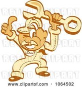 Vector Clip Art of Retro Cartoon Thumbs up Auto Mechanic Guy with a Wrench by Andy Nortnik