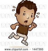 Vector Clip Art of Retro Cartoon Tired Black Boy Running by Cory Thoman
