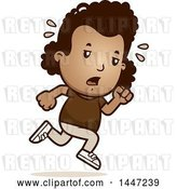 Vector Clip Art of Retro Cartoon Tired Black Girl Running by Cory Thoman