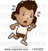 Vector Clip Art of Retro Cartoon Tired Black Girl Running in Shorts by Cory Thoman