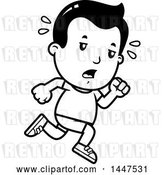 Vector Clip Art of Retro Cartoon Tired Boy Running in Shorts by Cory Thoman