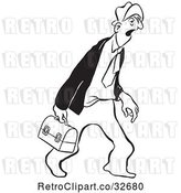 Vector Clip Art of Retro Cartoon Tired Business Man Carrying a Lunch Box by Picsburg