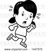 Vector Clip Art of Retro Cartoon Tired Girl Running by Cory Thoman