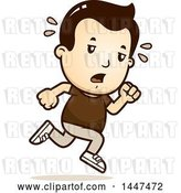 Vector Clip Art of Retro Cartoon Tired White Boy Running by Cory Thoman
