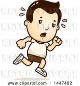 Vector Clip Art of Retro Cartoon Tired White Boy Running in Shorts by Cory Thoman