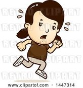 Vector Clip Art of Retro Cartoon Tired White Girl Running by Cory Thoman