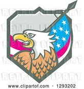 Vector Clip Art of Retro Cartoon Tough Bald Eagle Head with an American Flag in a Shield by Patrimonio