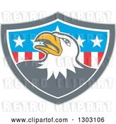 Vector Clip Art of Retro Cartoon Tough Bald Eagle in a Gray White and American Flag Shield by Patrimonio