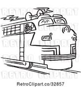 Vector Clip Art of Retro Cartoon Train Engineer Blowing the Horn by Picsburg