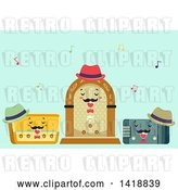 Vector Clip Art of Retro Cartoon Trio of Radios Singing by BNP Design Studio