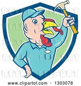 Vector Clip Art of Retro Cartoon Turkey Bird Builder Worker Holding up a Hammer in a Blue White and Green Shield by Patrimonio