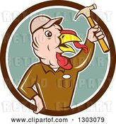 Vector Clip Art of Retro Cartoon Turkey Bird Builder Worker Holding up a Hammer in a Brown White and Green Circle by Patrimonio