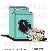 Vector Clip Art of Retro Cartoon Turquoise Washing Machine and Laundry by Andy Nortnik