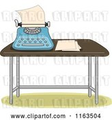 Vector Clip Art of Retro Cartoon Typewriter and Paper on a Table by BNP Design Studio