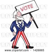 Vector Clip Art of Retro Cartoon Uncle Sam Holding up a Vote Sign by Patrimonio
