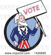 Vector Clip Art of Retro Cartoon Uncle Sam Holding up a Vote Sign, Emerging from a Black and Blue Circle by Patrimonio