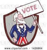 Vector Clip Art of Retro Cartoon Uncle Sam Holding up a Vote Sign, Emerging from a Brown and Gray Shield by Patrimonio