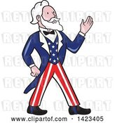 Vector Clip Art of Retro Cartoon Uncle Sam Walking and Waving by Patrimonio