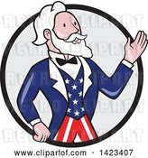 Vector Clip Art of Retro Cartoon Uncle Sam Waving in a Black and Gray Circle by Patrimonio