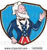 Vector Clip Art of Retro Cartoon Uncle Sam Waving in a Brown White and Blue Shield by Patrimonio