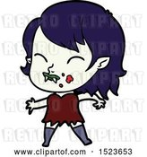 Vector Clip Art of Retro Cartoon Vampire Girl with Blood on Cheek by Lineartestpilot