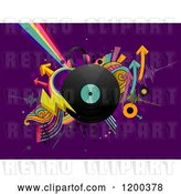Vector Clip Art of Retro Cartoon Vinyl Record Album with Arrows and Rainbows on Purple by BNP Design Studio