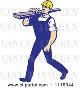 Vector Clip Art of Retro Cartoon Walking Carpenter Worker Carrying Lumber on His Shoulder by Patrimonio