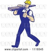Vector Clip Art of Retro Cartoon Walking Carpenter Worker Holding a Thumb up and Carrying Lumber on His Shoulder by Patrimonio