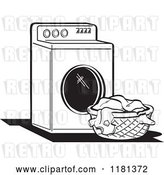 Vector Clip Art of Retro Cartoon Washing Machine and Laundry by Andy Nortnik