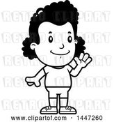 Vector Clip Art of Retro Cartoon Waving Black Girl in Shorts by Cory Thoman